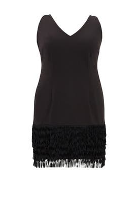Black Flapper Fringe Dress by Adrianna Papell