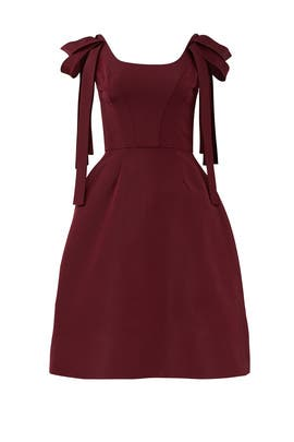 Burgundy Shoulder Dress by Christian Siriano