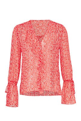 Sheer Poppy Speckle Blouse by Derek Lam 10 Crosby