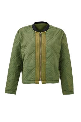 Green Quilted Bomber Jacket by Free People