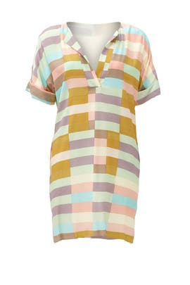 Sage Flag Stripe Shirt Dress by Mara Hoffman