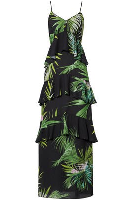 Green Leaf Tiered Maxi by Josie by Natori