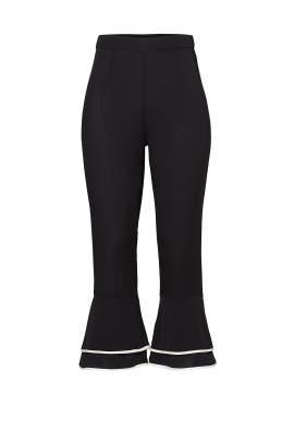 Black Ruffle Piping Pant by PIAMITA