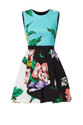 Aqua Crisp Bloom Dress by MARCOBOLOGNA