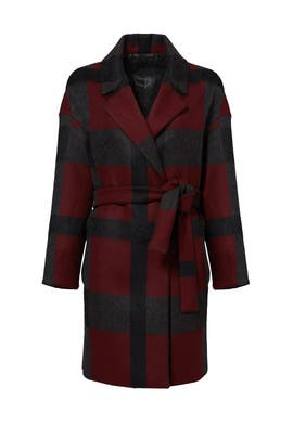 Burgundy Plaid Check Coat by Mother of Pearl