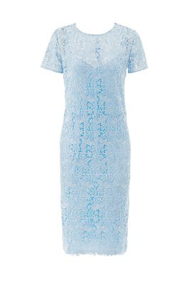 Ice Blue Guipure Lace Dress by Nina Ricci