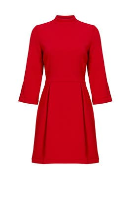 Red Artelier Mock Neck Dress by Nicole Miller
