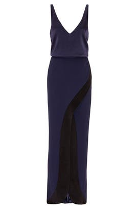 Navy Contrast Crepe Satin Gown by GALVAN