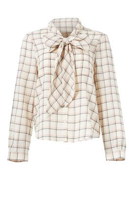 Plaid Hina Bow Shirt by Joie
