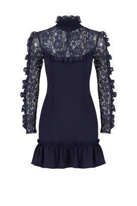 Navy Lace Insert Dress by Nicholas