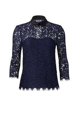 Navy Oliver Lace Top by Rachel Zoe
