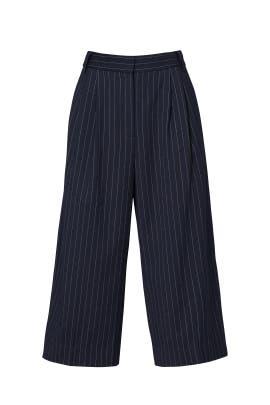 Navy Delmont Pinstripe Cropped Pants by Tibi