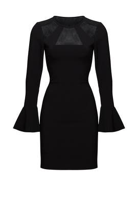 Black Bell Sleeve Illusion Sheath by Parker
