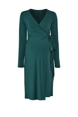 Emerald Wrap Maternity Dress by Rosie Pope