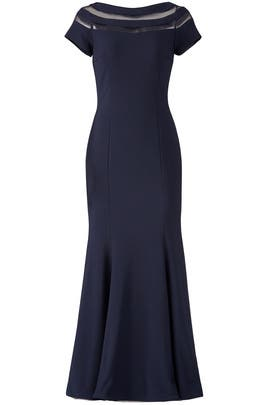 Navy Illusion Panel Gown by JS Collection