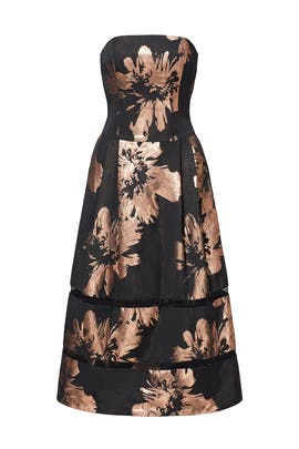 Gold Floral Printed Midi Dress by Nicole Miller