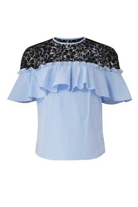 Blue Striped Poplin Top by Slate & Willow