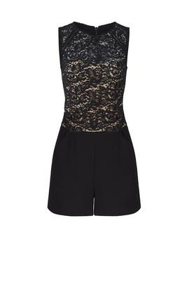 Black Lace Crepe Romper by Slate & Willow
