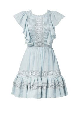 Blue Lace Ruffle Dress by Rebecca Taylor