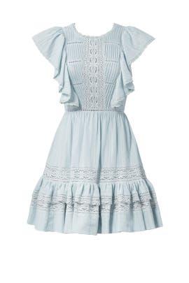 Blue Lace Ruffle Dress by Rebecca Taylor