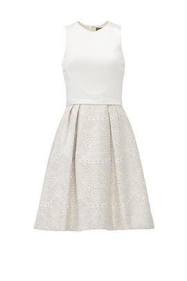 Ivory and Gold Party Dress by Theia