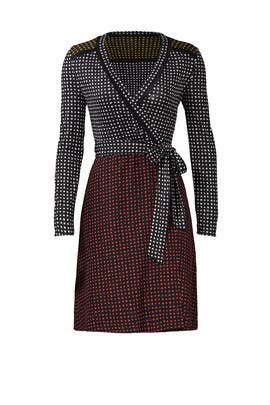 Mixed Dot Print Wrap Dress by Diane von Furstenberg