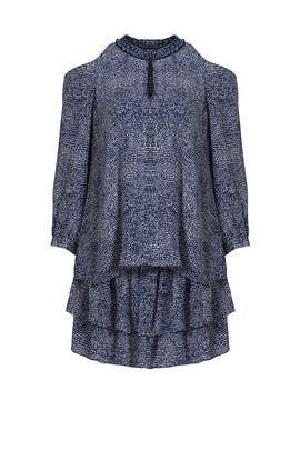 Blue Mosaic Printed Dress by 10 CROSBY DEREK LAM