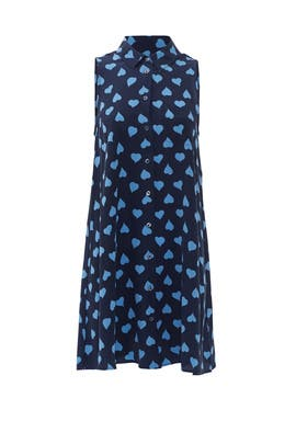 Blue Heart Shirt Dress by Equipment