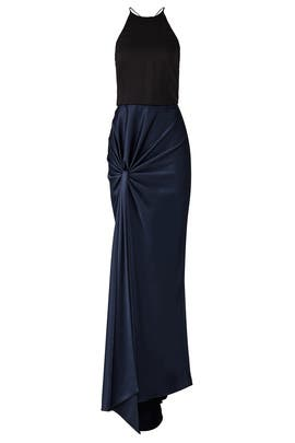 Navy Twist Drape Gown by Halston Heritage