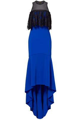 Cobalt High Low Ruffle Gown by Theia