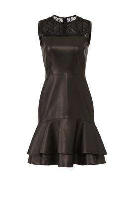 Leather Ruffle Hem Dress by Jason Wu