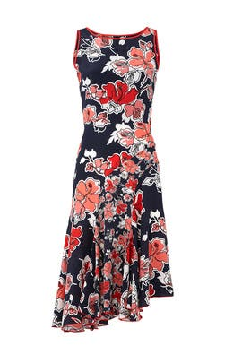 Floral Asymmetric Dress by Jason Wu Grey