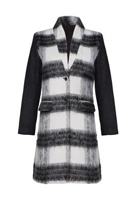 Black Plaid Printed Coat by Saylor