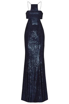 Navy Sequin T Overlap Gown by Jay Godfrey