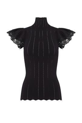 Black Peeking Lace Top by Rebecca Taylor