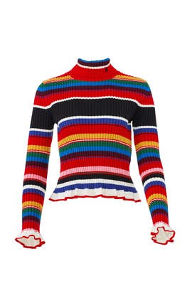 Striped Ruffle Sweater by MSGM