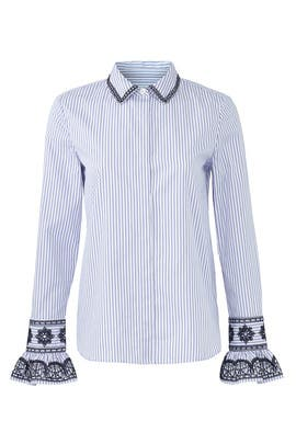Striped Paige Shirt by Tory Burch
