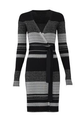 Metallic Striped Wrap Dress by Diane von Furstenberg