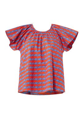 Printed Flutter Top by Opening Ceremony
