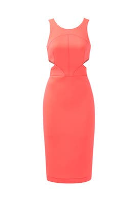 Neon Coral Porter Dress by Hunter Bell
