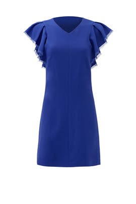 Cobalt Ruffle Crepe Dress by Rebecca Taylor