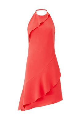 Coral Halter Dress by Carmen Marc Valvo