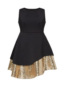 Gold Sequin Pique Dress by ELOQUII