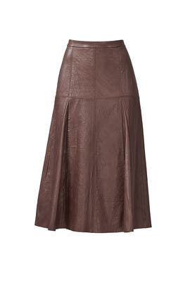 Taupe Leather Skirt by Halston Heritage