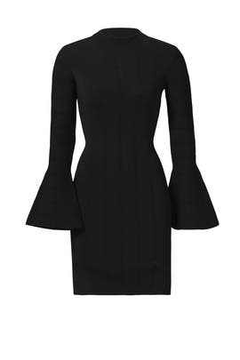 Black Bell Sleeve Sheath Dress by Keepsake