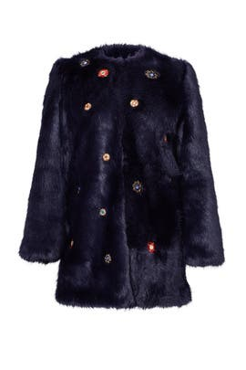 Navy Mirror Faux Fur Coat by SALONI