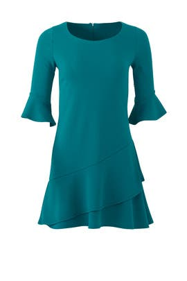 Teal Double Ruffle Dress by Slate & Willow