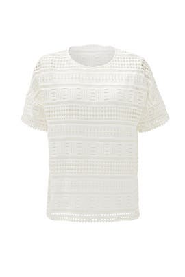 White Geo Lace Overlay Top by VINCE.