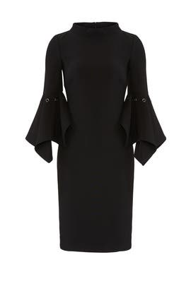 Black Flare Sleeve Dress by Badgley Mischka