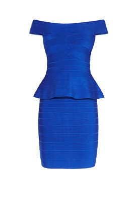 Blue Magdalena Dress by Hervé Léger